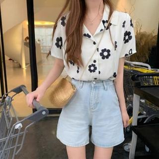 dholic - 韓国ファッション 半袖シャツ 花柄シャツ ボタニカルシャツ ホワイト