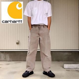 カーハート(carhartt)の【Carhartt】ダック ワーク ペインターパンツ グレージュ 革パッチロゴ(ショートパンツ)