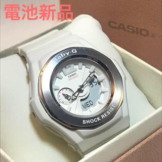 ベビージー(Baby-G)のbaby-g レディース CASIO 電池新品 白 ホワイト デジアナ(腕時計)