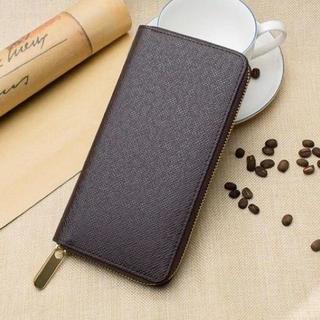 【ダークブラウン】高品質PUレザー シンプルなのに大容量(長財布)