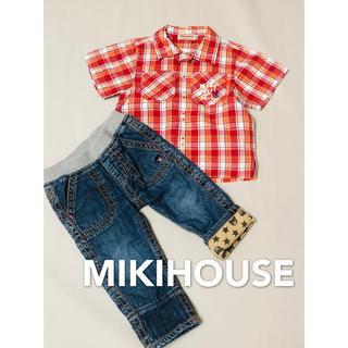 ミキハウス(mikihouse)のミキハウス MIKIHOUSE 半袖シャツ&デニム パンツ 美品 80(Tシャツ)