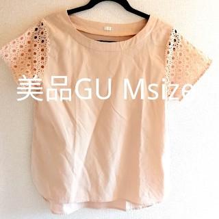ジーユー(GU)の美品 GU 袖レース トップス ブラウス Tシャツ Msize(シャツ/ブラウス(半袖/袖なし))