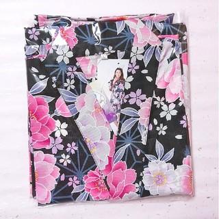 【新品】甚平 レディース セパレート 花柄  ブラック ピンク さくら(浴衣)
