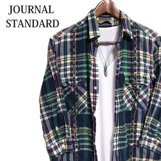 ジャーナルスタンダード(JOURNAL STANDARD)のJOURNAL STANDARD 七分袖シャツ緑チェックシャツウエスタンシャツ(シャツ)