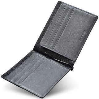 マネークリップ 出来るビジネスマンのための 薄くて軽いレザーマネークリップ(折り財布)