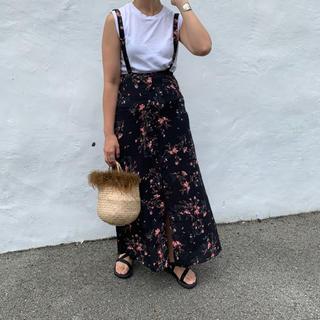 【新品】mite  サスペンダー付き花柄スカート(ロングスカート)