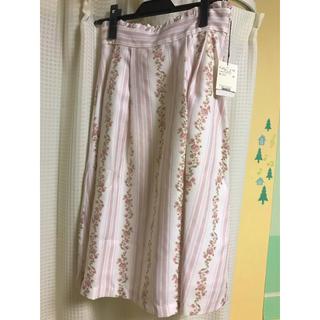 クチュールブローチ(Couture Brooch)のクチュールブローチ ピンクストライプフラワースカート(ひざ丈スカート)