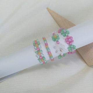 ビーズリング ピンク グリーン(リング)