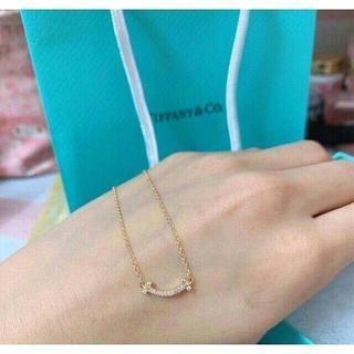 Tiffany & Co. - 新品 ティファニー K18YG×ダイヤ Tスマイル ミニ ペンダント ネックレス