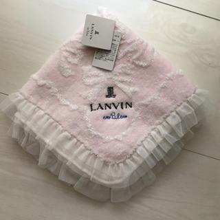 LANVIN en Bleu - LANVIN en blue レース縁取り タオルハンカチ リボン柄