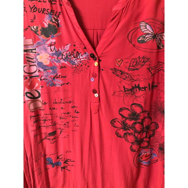 DESIGUAL(デシグアル)のデシグアル   レディース 赤 レーヨン XL シャツ レディースのトップス(シャツ/ブラウス(長袖/七分))の商品写真