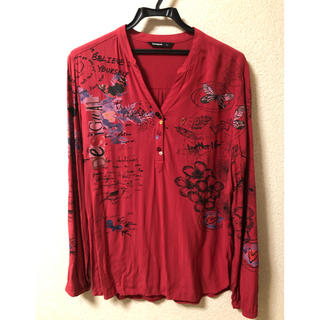 DESIGUAL - デシグアル   レディース 赤 レーヨン XL シャツ