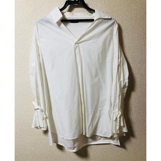 白 ボヘミアン ブラウス 袖リボン コットン100%  L(シャツ/ブラウス(半袖/袖なし))