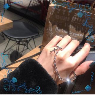 ☆かっこいい☆メンズアクセサリー シルバー チェーンダブルオープンリング(リング(指輪))