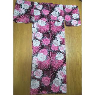 黒×ピンク★ラメライン入り牡丹花柄浴衣(浴衣)