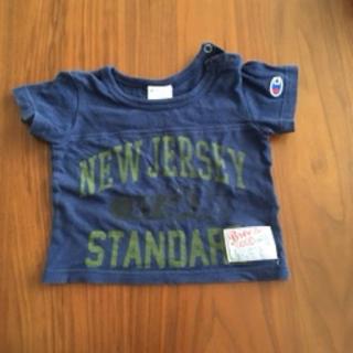 Champion - 紺色 チャンピオン ブリーズコラボ 犬柄 Tシャツ 半袖カットソー 80