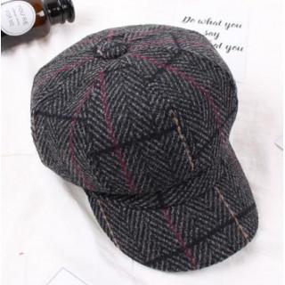 ブラック ツイード キャスケット M 帽子 ハット ハンチング コーデュロイ(ハンチング/ベレー帽)