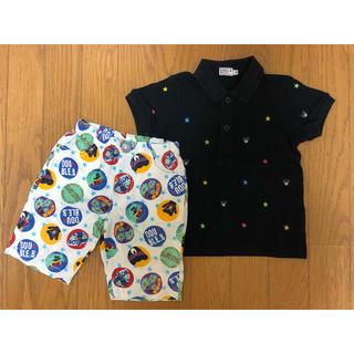 DOUBLE.B - ダブルビー 星柄ポロシャツ、アロハ ハーフパンツ(90)