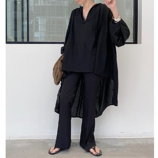 L'Appartement DEUXIEME CLASSE - 新品■AISH■over size ギャザーシャツ■ブラック■アパルトモン
