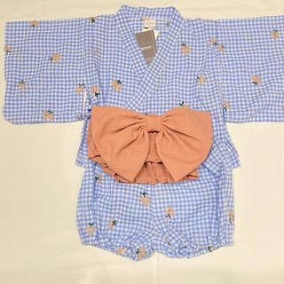 petit main - 小花刺繍ベビー浴衣3点セット 95cm