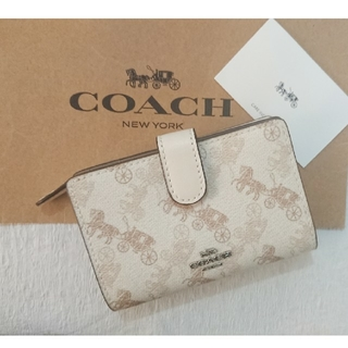 COACH - 2020 夏最新作❗コーチ二つ折り財布 クリーム×ベージュマルチ