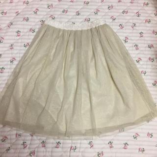 ジェーンマープル(JaneMarple)のJaneMarple チュールスカート シャンパンゴールド(ひざ丈スカート)