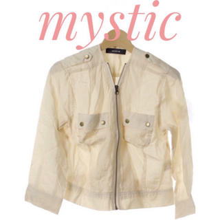 mystic - mystic【美品】透け素材 五分袖 ジップアップ ブルゾン ジャンパー
