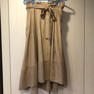 ラグナムーン(LagunaMoon)のLAGUNAMOON  ウエストリボン イレギュラーヘムフレアースカート(ひざ丈スカート)