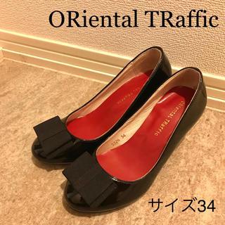 オリエンタルトラフィック(ORiental TRaffic)のORiental TRaffic 黒 ヒール リボン(ハイヒール/パンプス)