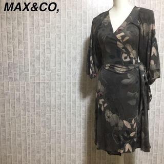 マックスアンドコー(Max & Co.)のマックス&コー カシュクール ベルテッド 花柄 総柄 ワンピース サイズL(ひざ丈ワンピース)