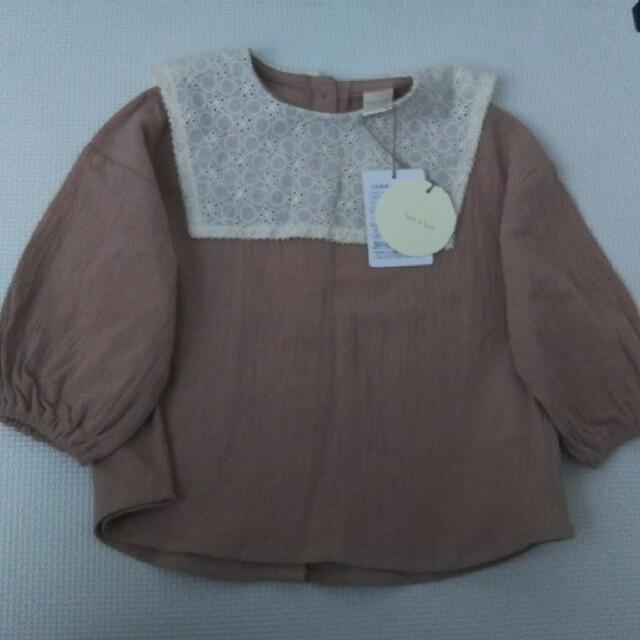80サイズ テータテート 新作 レース襟ブラウス ピンク キッズ/ベビー/マタニティのベビー服(~85cm)(シャツ/カットソー)の商品写真