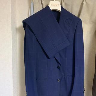 美品 Caruso カルーゾ ウインドーペン柄スーツ ネイビー 48(セットアップ)