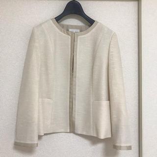 新品レステラ カラミ織りノーカラージャケット40ナチュラルベージュ