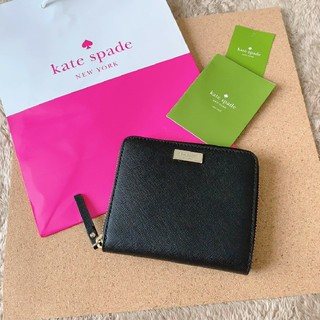 ケイトスペードニューヨーク(kate spade new york)のケイトスペード 新品 折り財布 ブラック レザー(財布)