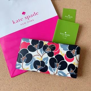 ケイトスペードニューヨーク(kate spade new york)の最新モデル 新品 ケイトスペード 長財布 フラワー ネイビー(財布)