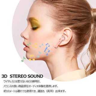 女子必見 パステル ワイヤレスイヤホン 可愛い 防水 Bluetooth(ストラップ/イヤホンジャック)