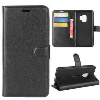 手帳型 マグネット式 ギャラクシー S9 カバー ブラック 黒色(Androidケース)