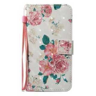 スマホケース 花柄 ピンク 白 iphone X 手帳型 PUレザー おしゃれ(iPhoneケース)