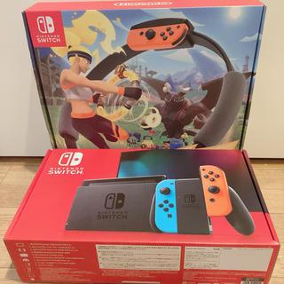 ニンテンドースイッチ(Nintendo Switch)の【セット】switch本体+リングフィットアドベンチャー(家庭用ゲーム機本体)