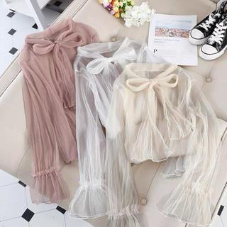 evelyn - リボンブラウス リボンシャツ シアーシャツ 韓国ファッション