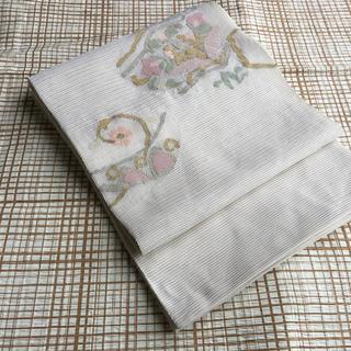 ●夏物 正絹 絽綴れ 袋帯 長尺名古屋帯 お太鼓柄
