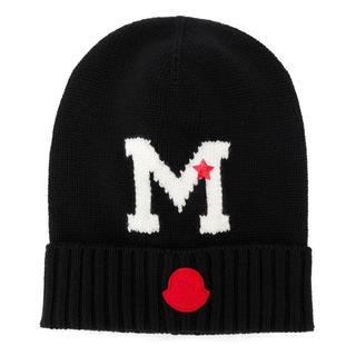 モンクレール(MONCLER)のレア!1点のみ!モンクレール ニット帽 ブラック(ニット帽/ビーニー)