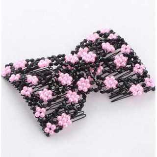引っ張って留めるだけ 大人気 の ツインコーム 梅花 ピンク ヘアアクセサリー(ハンチング/ベレー帽)