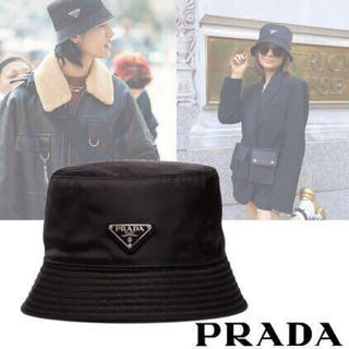 PRADA - PRADA プラダ ロゴ ナイロンレイン ハット 帽子