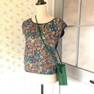 ザラ(ZARA)のM*ZARA*アンティークフラワーシルクカットソー(Tシャツ(半袖/袖なし))