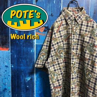 WOOLRICH - 【ウールリッチ】USA製半袖フィッシング総柄チェックワークシャツ 90s