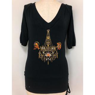 アクサラ(AXARA)のAXARA アクサラ Vネック ビジュー  ストーン Tシャツ(Tシャツ(半袖/袖なし))
