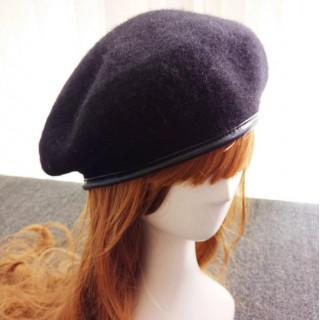 パイピング ベレー帽 黒 レディース バスク ウール 帽子 ニット ブラック(ハンチング/ベレー帽)