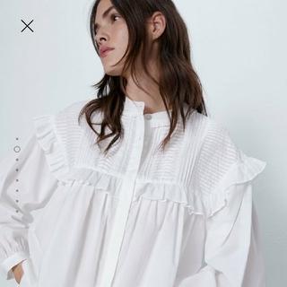 ZARA - ZARA フリルつきポプリンシャツ M-L
