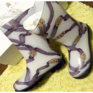 グッチ(Gucci)のグッチ 美品 長靴 子供 レインシューズ キッズ 29 ホワイト 17.5(長靴/レインシューズ)